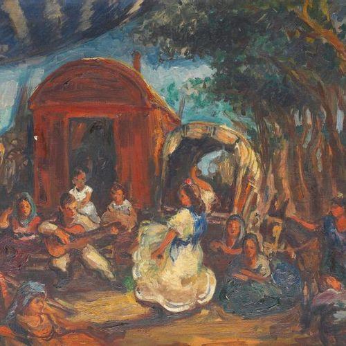 CREIXAMS Pedro (Barcelone 1893 1965) La danseuse gitane devant la roulotte Huile…