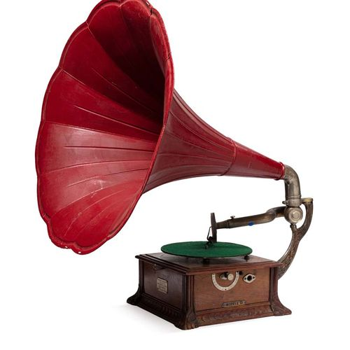 PATHE  PATHEPHONE Model D. Large red floral pavilion. Chrome plated metal arms. …