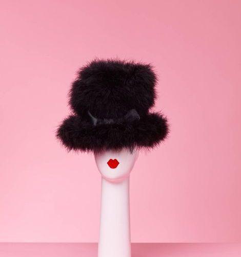 CHANTAL THOMASS Black marabou high hat