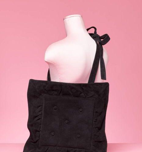 "CHANTAL THOMASS Black suede ""cushion"" bag  40 x 40 cm"