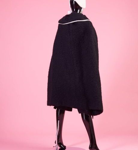Chantal THOMASS Automne Hier 1979 White mohair knickers and black mohair cape wi…