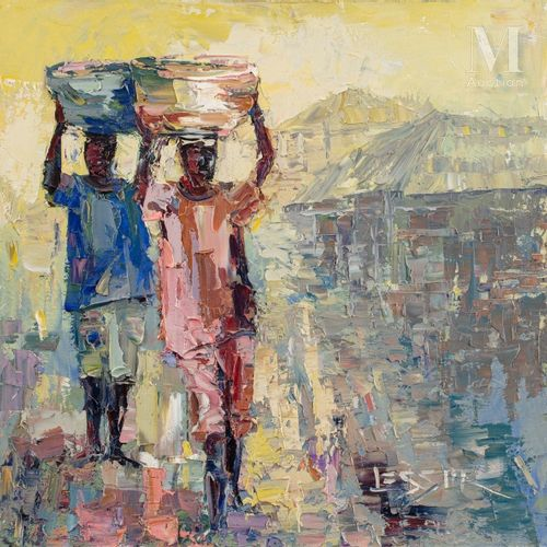 Marvua LESSOR (né en 1960) Sans titre  Huile sur toile signée en bas à droite, c…