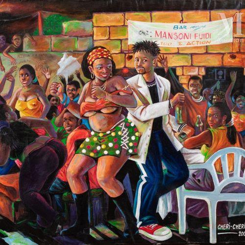 Cheri CHERIN (né en 1955) Bar Mansoni Fuidi, 2008  Acrylique sur toile signée et…