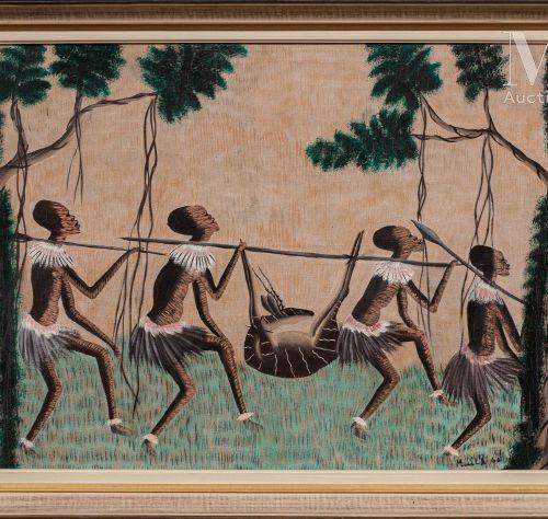 MUILA (XXe) Retour de chasse, 1963  Huile sur toile signée et datée en bas à dro…