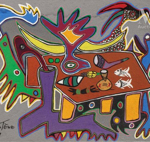 MARCEL GOTENE (1939 2013) Sans titre, 1961  Huile sur isorel signé et daté en ba…