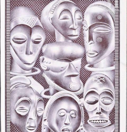 TSHAM (né en 1963) Les têtes africaines, 2020  Encre et aquarelle sur papier sig…