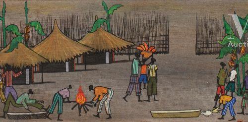 François ILOKI (1934 1993) Village  Huile sur isorel signé en bas à gauche  33 x…