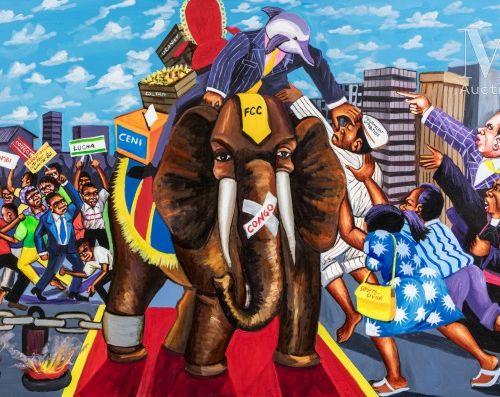 MOKE FILS (né en 1968) La course au pouvoir, 2018  Acrylique sur toile signée et…