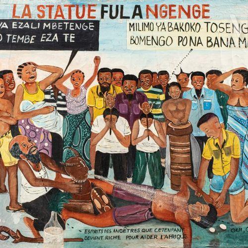 Ange KUMBI (né en 1954) La statue Fula Ngenge, 2000  Acrylique sur toile signée …