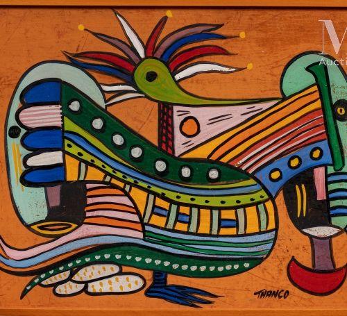 François THANGO (1936 1981) Oiseau et masques  Huile sur carton signé en bas ver…