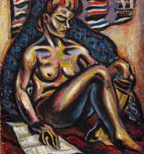 Gérard SEKOTO (1913 1993) Sans titre  Huile sur toile carton signé en bas à gauc…