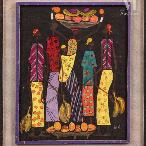 François ILOKI (1934 1993) Sans titre  Huile sur isorel signé en bas à droite  4…