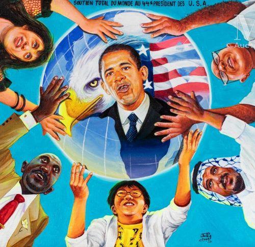 JP Mika (né en 1980) Soutien total du monde au 44e président des USA, 2009  Acry…