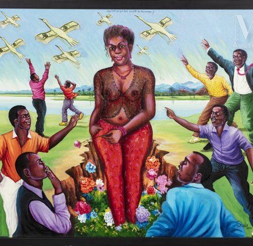 Monsengo SHULA (né en 1959) Qu'est ce qui fait courir les hommes, 2012  Acryliqu…