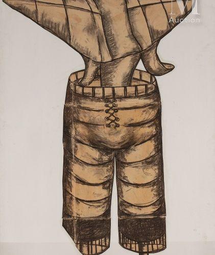 Benyounes Semtati (né en 1966) Sans titre (3), 2005  Fusain sur papier marouflé …