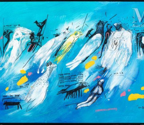 Soly Cisse (né en 1969) Bestiaire, 2009  Acrylique et pastel sur papier signé et…