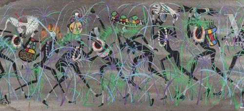 MARCEL GOTENE (1939 2013) Sans titre, 1960  Huile sur isorel signé et daté en ba…