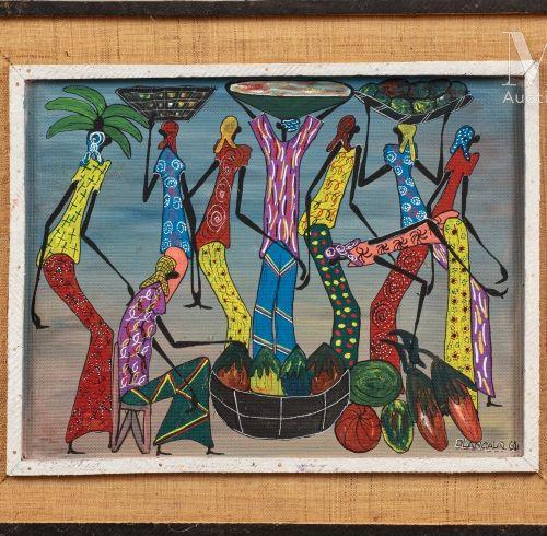 OLANGALA (XXe) Marché, 1962  Huile sur isorel signé et daté en bas à droite  35 …