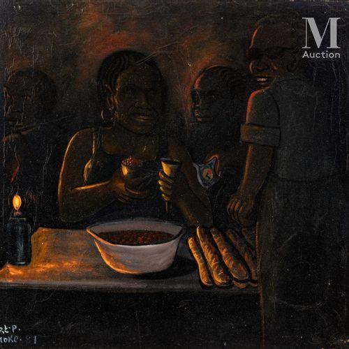 MOKE (1950 2001) Marché nocturne, 1981  Huile sur toile de récupération signée e…