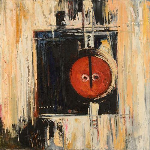Roger MIMBAYI BOTEMBE (1959) Composition  Huile sur toile monogrammée en bas à d…