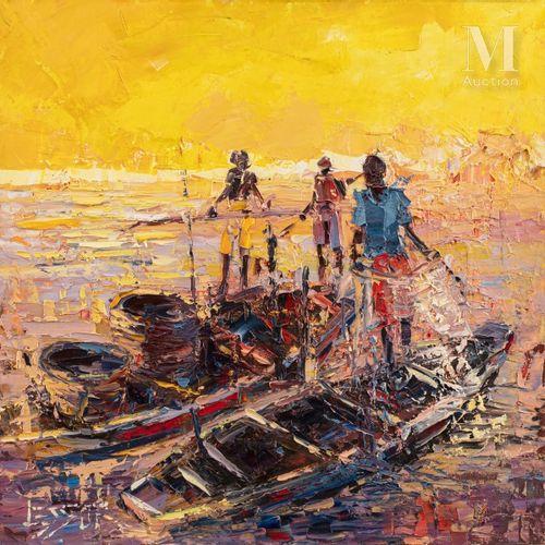 Marvua LESSOR (né en 1960) Sans titre  Huile sur toile signée en bas à gauche, c…