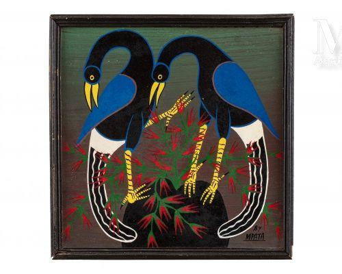 SIMON GEORGE MPATA (1942 1984) Oiseaux  Huile sur carton signé en bas à droite  …