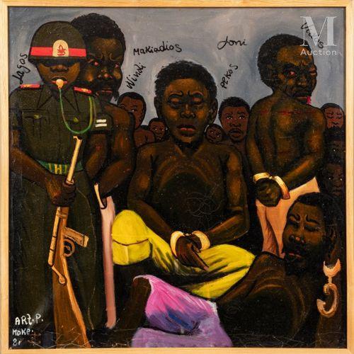 MOKE (1950 2001) Les prisonniers, 1981  Huile sur toile de récupération signée e…