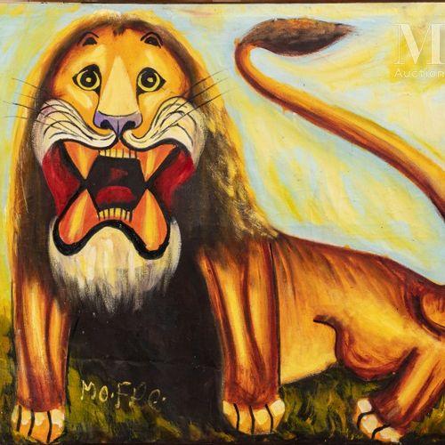 MOKE (1950 2001) Lion, 1970  Huile sur toile de récupération signée en bas à gau…