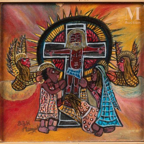 Damian Boniface K. MSAGULA (1939 2005) Sans titre  Huile sur isorel signé en bas…