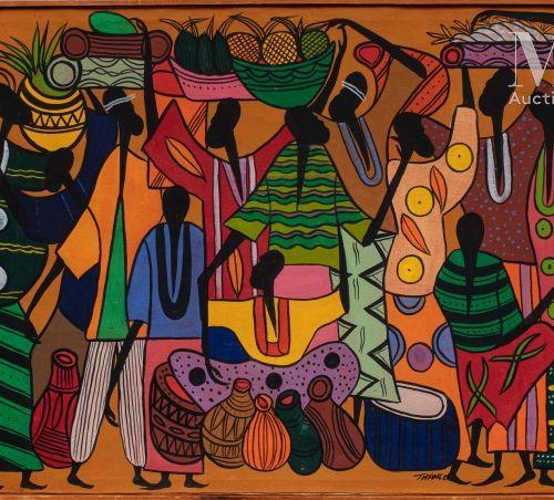 François THANGO (1936 1981) Marché  Huile sur toile signée en bas à droite  59,5…
