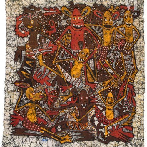 George LILANGA (1934 2005) Sans titre  Huile sur tissu batik signé en bas vers l…