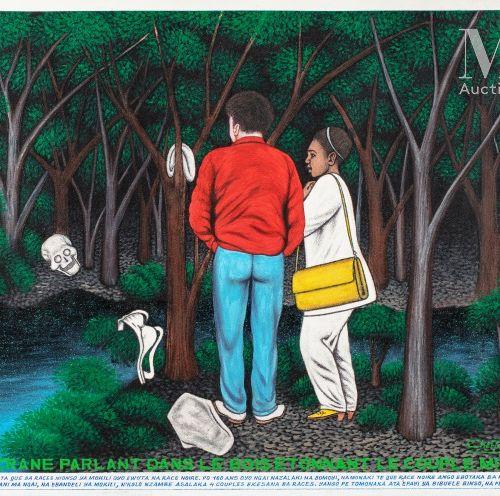 Chéri SAMBA (né en 1956) Un crâne parlant dans le bois, 1997  Acrylique sur toil…