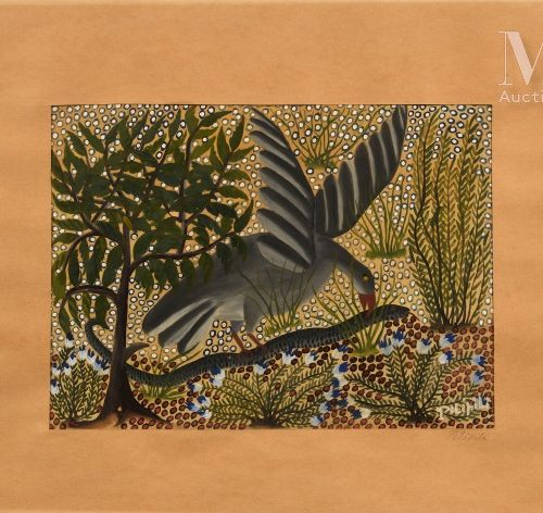 Pilipili MULONGOY (1914 2007) Sans titre  Gouache sur papier signé en bas à droi…