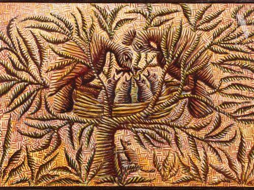 Mwenze Kibwanga (1925 1999) Sans titre, 1980  Huile sur toile signé et daté en b…