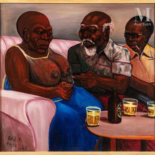MOKE (1950 2001) Grands Parents, 1981  Huile sur toile de récupération signée et…