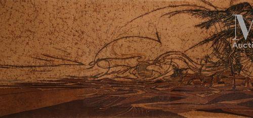 Aissa DIONNE (née en 1952) Siroco et désert, 1981  Huile sur tissu batik signé e…