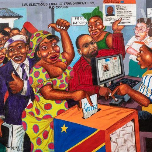 MOKE FILS (né en 1968) Les élections libres et transparentes en RD Congo  Acryli…