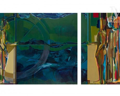 Fodé CAMARA (né en 1958) Sans titre, 2009  Huile sur toile, diptyque signé et da…