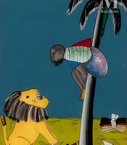 Alexis N'GOM (XXe) Sans titre  Peinture fixée sous verre (souwère), oeuvre signé…