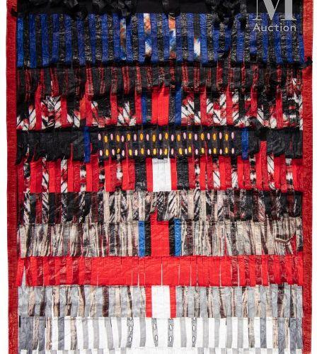Abdoulaye KONATÉ (né en 1953) Composition en gris plus bleu, 2016  Assemblage de…