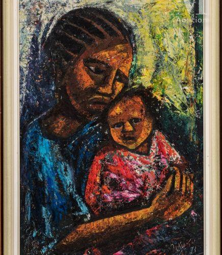 Nkusu FELELO (né en 1914) Mère et enfant, 1973  Huile sur carton signé et daté e…