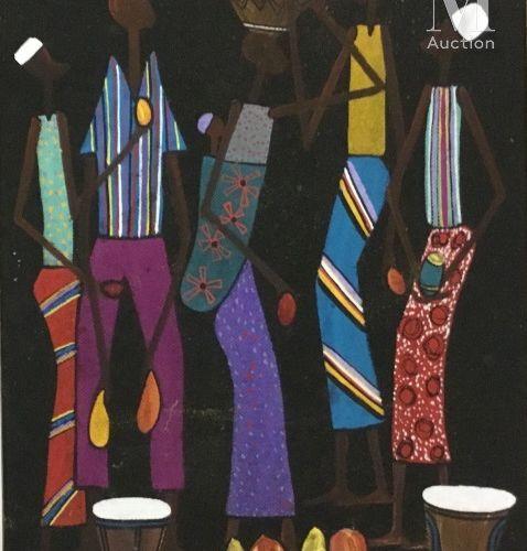 François ILOKI (1934 1993) Sans titre  Huile sur isorel signé en bas à droite  5…