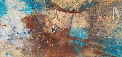 TCHIF (né en 1973) Composition, 2006  Huile, sable et collage sur toile libre si…