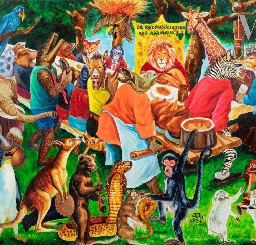 JP Mika (né en 1980) La reconsultation des animaux, 2009  Acrylique sur toile si…
