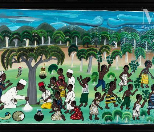 Mohammed CHARINDA (né en 1947) Sans titre  Huile sur toile signée en bas à gauch…