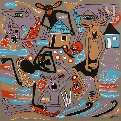 George LILANGA (1934 2005) Nnayo Fikilia Yanaweza Kuakweli, 1998  Acrylique sur …