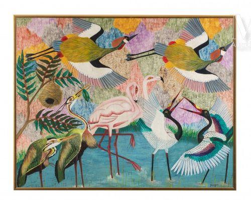 Pilipili MULONGOY (1914 2007) Sans titre  Huile sur toile signée en bas à droite…