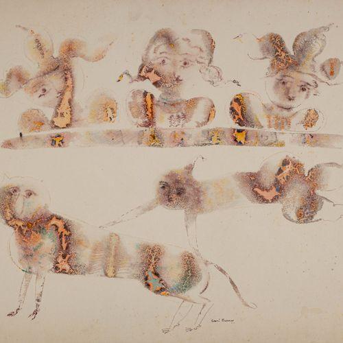 Sakti BURMAN (Né en 1935) Clown acrobate  Encre et aquarelle sur papier signé en…