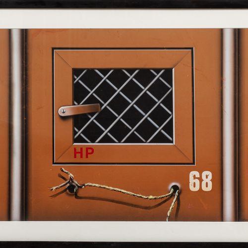 Peter KLASEN (né en 1935) Container avec grillage, 1979  Acrylique sur carton si…