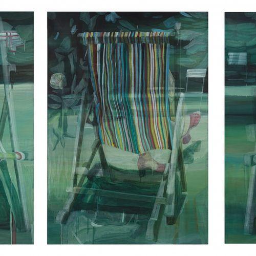 Marc DESGRANDCHAMPS (né en 1960) Sans titre, Triptyque n°1266, 2000  Huile sur t…